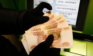 Russian rouble notes.