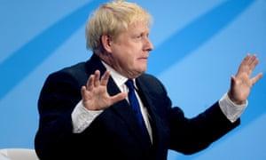 Boris Johnson at the Tory leadership hustings in London