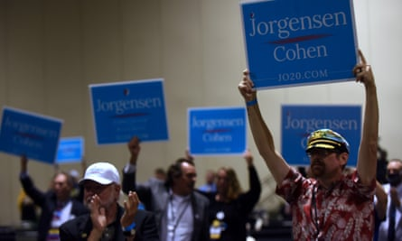 Delegates react as Jo Jorgensen gives her acceptance speech during the 2020 Libertarian National Convention.