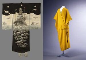 Left: Kimono for an Infant Boy, 1930-45; right: Mantle, 1913 by Paul Poiret.