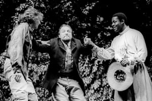 Ralph Fiennes as Berowne, Simon Russell Beale as King of Navarre and Paterson Joseph as Dumaine in Love's Labour's Lost