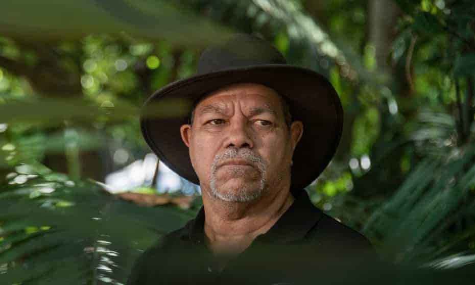 Gudjugudju (rainbow serpent) Fourmile, lead the Bana Ganyarra Wunyami tour of Admiralty Island and Green Island, where traditional owners and scientists shared data on climate change.
