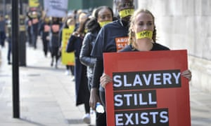 An anti-slavery protest in London in 2017.