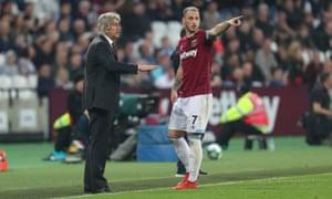 West Ham's Marko Arnautovic with Manuel Pellegrini