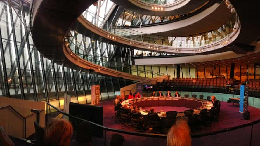 Garden bridge pantomime … Boris Johnson gets a grilling from the GLA Oversight Committee in City Hall