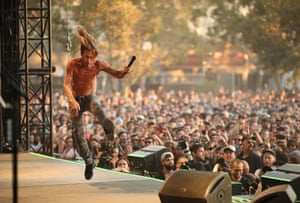 Iggy Pop takes the stage at the FYF festival at Exposition Park in Los Angeles.