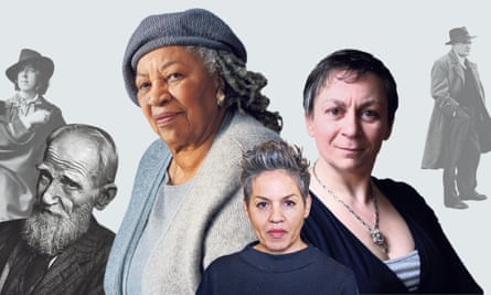 From left, Oscar Wilde, George Bernard Shaw, Toni Morrison, Kit de Waal, Anne Enright and Flann O'Brien.