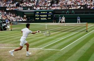 Novak Djokovic fires a forehand.