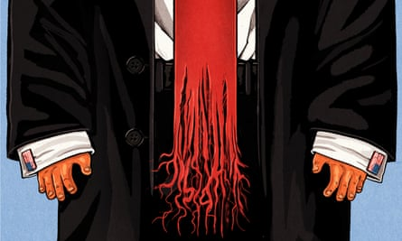 Illustration, of suit wearing man with frayed red tie , by Ben Jennings
