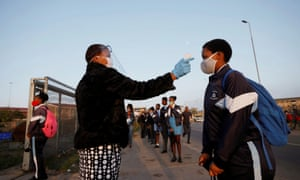 A learner at another South African school is screened as schools begin to reopen, 8 June 2020.
