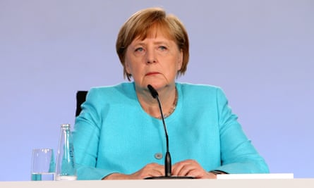 Angela Merkel presenting Germany's stimulus package in Berlin.