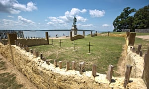 Crosses mark where the four sets of human remains were found in near the altar of what was America's first Protestant church in Jamestown, Virginia.