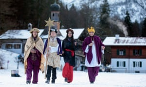 Epiphany carolers arrive for the annual conference of the Christian Social Union at Wildbad-Kreuth, Germany