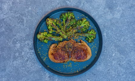 Lee Tiernan's Barnsley chop, purple sprouting broccoli and bottarga (or anchovies).