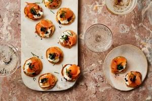 Thomasina Miers' buckwheat blinis with lemon ricotta and smoked salmon.