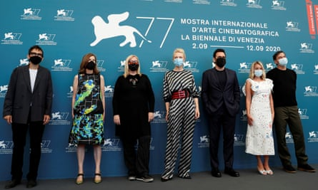 Venice film festival president Cate Blanchett, middle, with jury members Nicola Lagioia, Joanna Hogg, Veronika Franz, Matt Dillon, Ludivine Sagnier and Christian Petzold kick off the 2020 event.