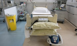 An intensive care bed and respirator at the temporary NHS Nightingale hospital constructed in the ExCeL centre in London.