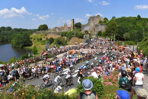 The peloton rides through the village of Tiffauges during the 182.5km second stage between Mouilleron-Saint-Germain and La Roche Sur-Yon.