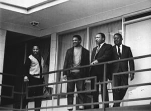 King stands with other civil rights leaders on the balcony of the Lorraine Motel in Memphis, Tennessee on 2 April 1968, the day before he was assassinated.