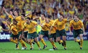 The Socceroos celebrate the moment John Aloisi's penalty hitting the back of the net at Stadium Australia in Sydney on 16 November 2005.