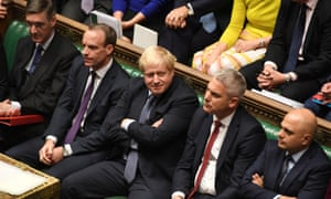 Boris Johnson, next to Brexit Secretary Stephen Barclay, in the House of COmmons.