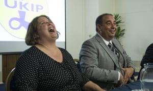 Ukip leadership candidates Lisa Duffy and Bill Etheridge at the final hustings.