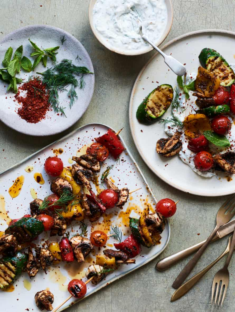 Nik Sharma's vegetable kebabs with lemon-yoghurt sauce.