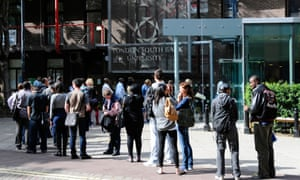 Students queuing outside London South Bank University
