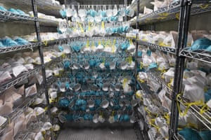 Protective masks hang in a decontamination unit in Somerville, Massachusetts.