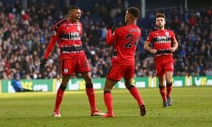 Steve Mounie celebrates scoring Huddersfield's second goal against West Brom.