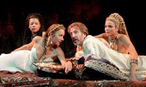 Alan Rickman opposite Helen Mirren in Antony and Cleopatra at the National Theatre, 1998.