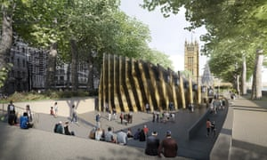 One of the shortlisted designs by Adjaye Associates and Malcolm Reading Consultants of the Victoria Tower Gardens, the site of the memorial, which has provoked objections.