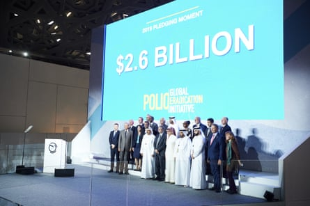The stage at the Reaching The Last Mile Forum on 19 November 2019, at which $2.6bn were pledged to eradicate polio.