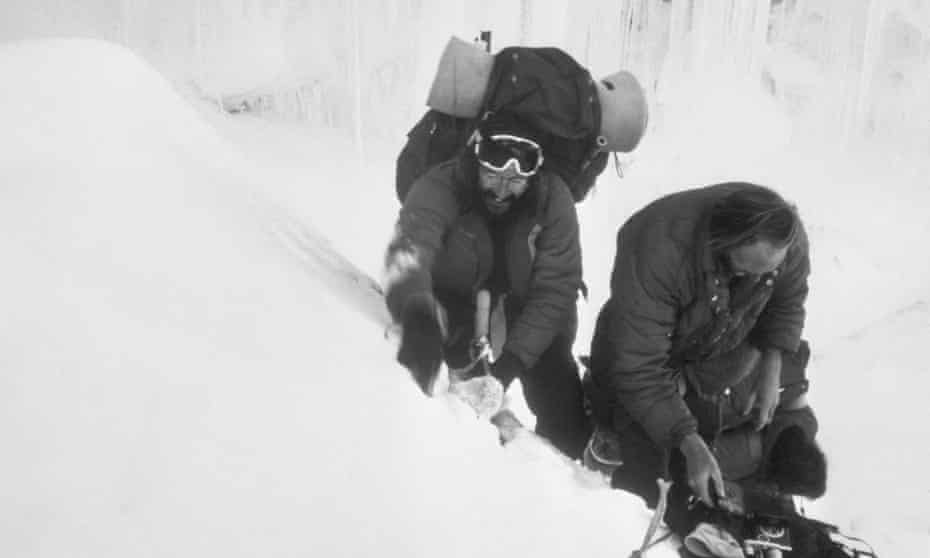 Doug Scott, left, and Hamish MacInnes in an icefall on Everest in 1975.