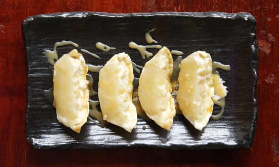 Apple gyoza with butterscotch sauce