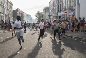 People run away from what they thought was a bomb when a flare was set off during carnival.