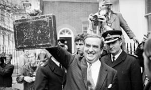 Denis Healey, the UK chancellor, on budget day 1974