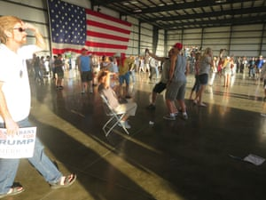 Supporters assemble in the hangar prior to Trump's arrival at the rally in Sacramento, California, on 1 June