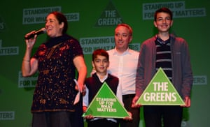 Alex Bhathal with her husband Peter and their sons at the Greens 2016 election night party in Melbourne