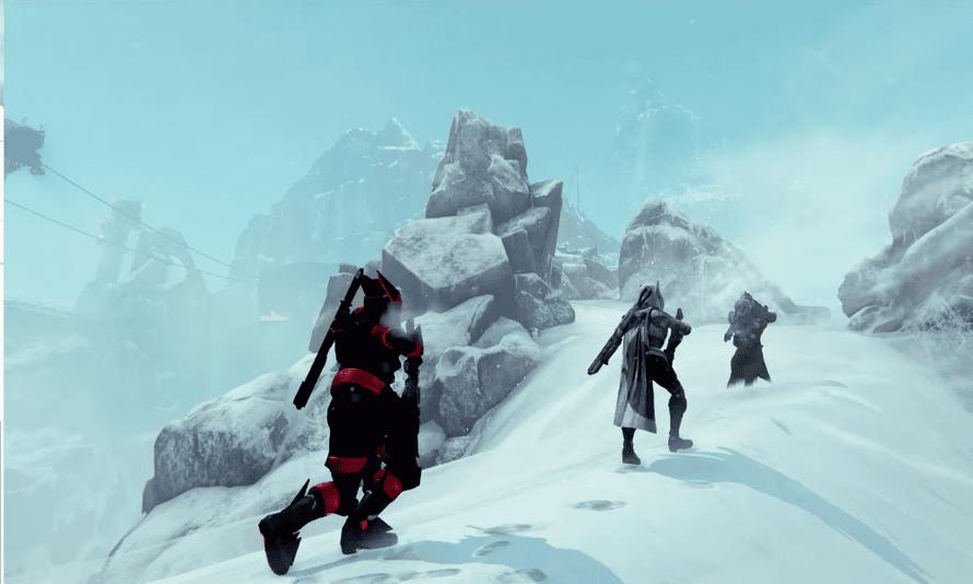 A fireteam ascends Felwinter Peak in Destiny: Rise of Iron.