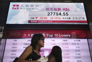 An electronic board showing Hong Kong share index outside a local bank in Hong Kong today.