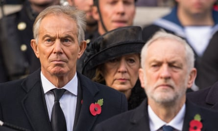 Tony Blair (left) andJeremy Corbyn at the Remembrance Sunday service at the Cenotaph in Whitehall, London, November 2017.