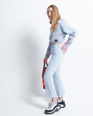 Model wears top, £39, and trainers, £85, both by Cat, from urbanoutfitters.com. Jeans, £175, motherdenim.com. Bag, £40, maje.com Hair: Christopher Gatt using Evo. Makeup: Delilah Blakeney using Nars Cosmetics. Stylist's assistant: Penny Chan. Models: Sylviane and Denise at Mrs Robinson, Bell at IMM, Ava and Edie at Premier.
