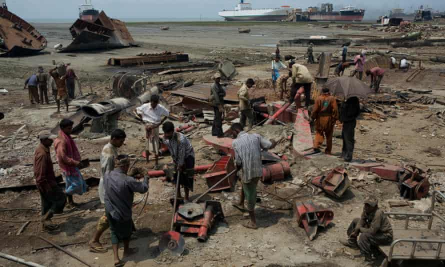 Fragments from the past … workers dismantle a ship for recycling in Chittagong, Bangladesh.