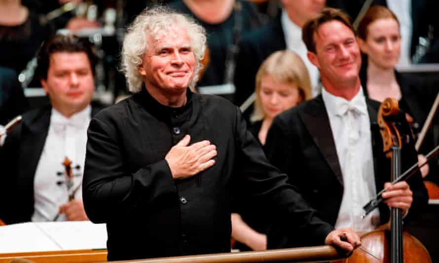 Simon Rattle arriving to conduct the LSO playing at the Barbican in London, September 2017