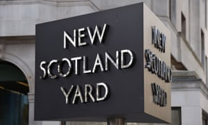 A sign outside the Metropolitan police building in London.