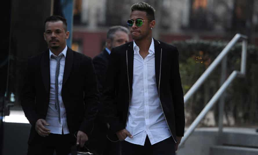 Neymar leaves the National Court in Madrid in February 2016 after giving evidence over allegations of corruption and fraud surrounding his transfer to Barcelona.