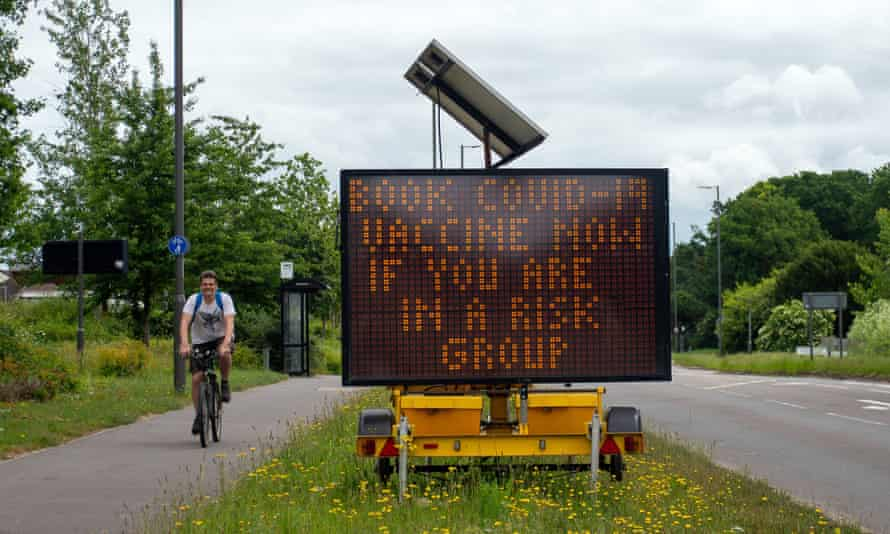 A sign on the A4 at Taplow, Buckinghamshire, urging people to get vaccinated.