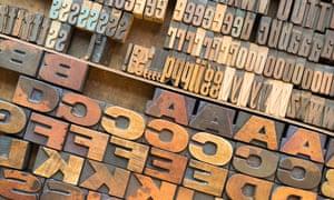Wood block letter press lettering