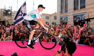 Chris Froome of Team Sky attends the presentation event for the 101st Giro d'Italia in Safra Square in Jerusalem.